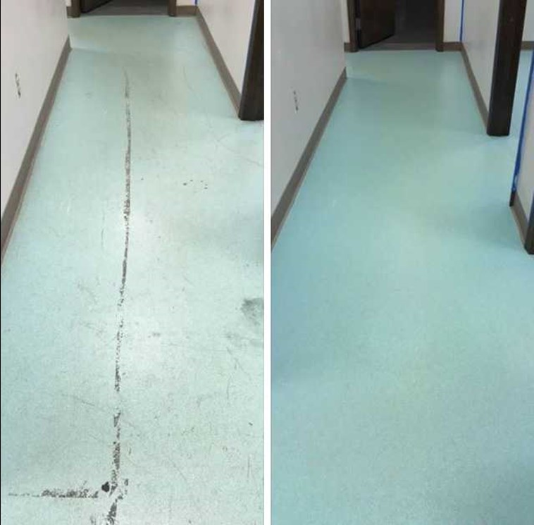 before and after vinyl floor cleaning results in Kokomo IN