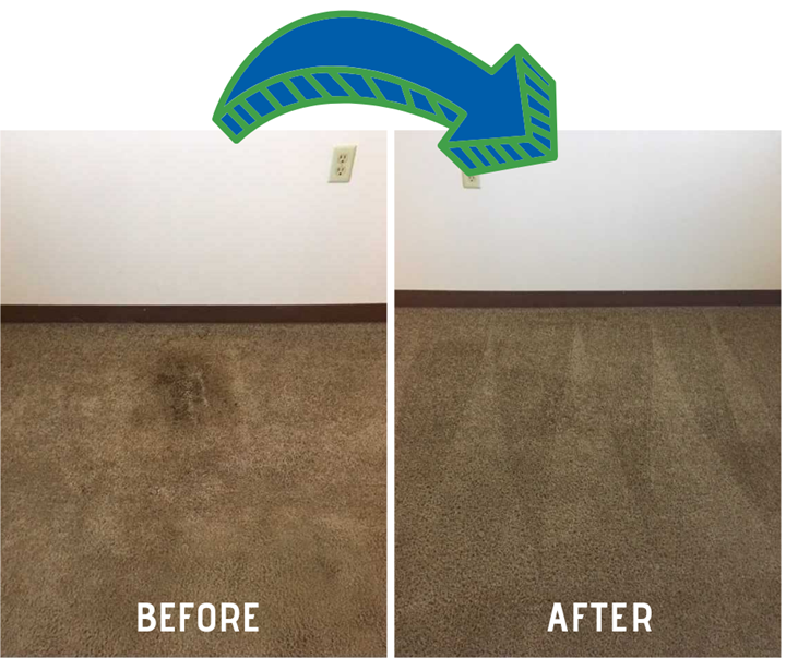 before and after carpet cleaning by Shirley's Chem-Dry in Tipton IN