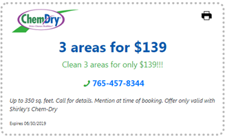 carpet cleaning special coupon 3 areas for $139 in Cokomo IN
