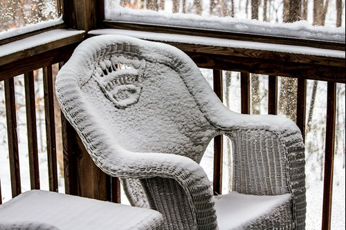 snowy patio chair in Tipton IN
