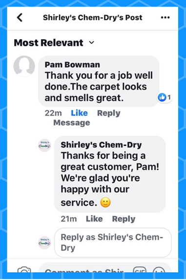 shirley's chem-dry carpet cleaning review on facebook