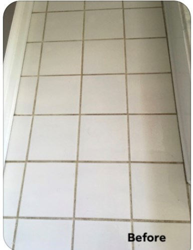 Tile picture before tile and grout cleaning with Shriley's Chem Dry in Tipton, IN